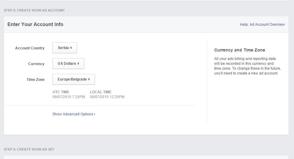 Ukoliko prvi put pravite reklamu, Facebook će Vas pitati da podesite nalog